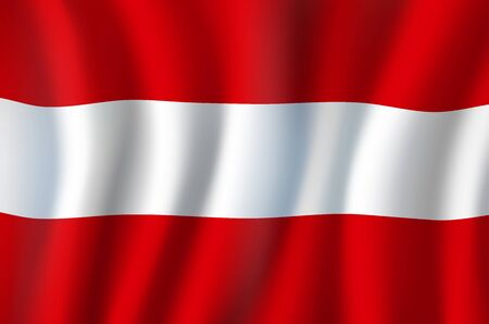 Waving flag of Austria with three equal horizontal bands of red, white and red. Vector Austrian triband, coat of arms, national european country official symbol. Heraldry, windy textile banner Illustration