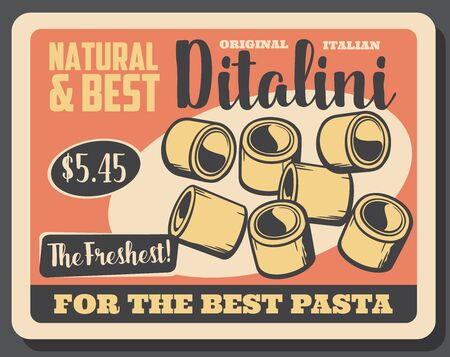 Ditalini pasta in shape of small tubes. Vector traditional Italian cuisine food, tubettini. Short macaroni of durum wheat, homemade natural mediterranean original pasta 向量圖像