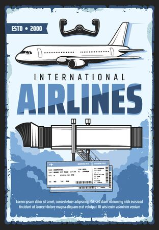 Movable passengers boarding ramp with ladder of airplane. Aircraft steering wheel and blue clouds in sky, tickets on voyage. International airlines, plane gangway and boarding pass vector