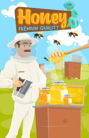 Honey apiary, bee-garden and beekeeper in protective outfit. Vector jars of honey, flying bee insects on beekeeping farm. Apiarist in hat and dipper spoon, apiculture and wooden board with flowers Illustration