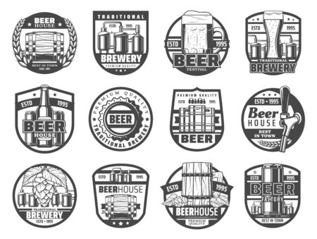 Beer house and brewery factory, pub and bar isolated icons. Vector craft pint mugs and bottles, brewing production, Oktoberfest festival. Hop and ears of wheat, wooden barrels, light, dark beer, ale 일러스트