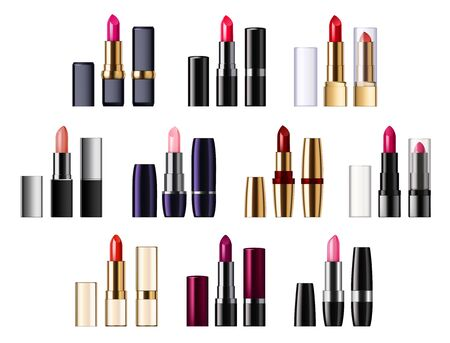 Color lipsticks palette of red, pink, brown color. Vector assortment of glossy lipsticks in tubes, pomade applicator in realistic design. Fashion mockup of makeup cosmetics, lips decor item