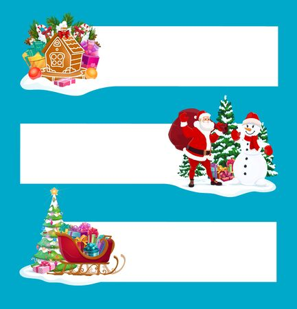 Christmas banners vector design with Xmas gifts, Santa and copy space. New Year winter holiday presents, Claus and snowman, Christmas tree, sleigh and gingerbread house, candies, balls and lights