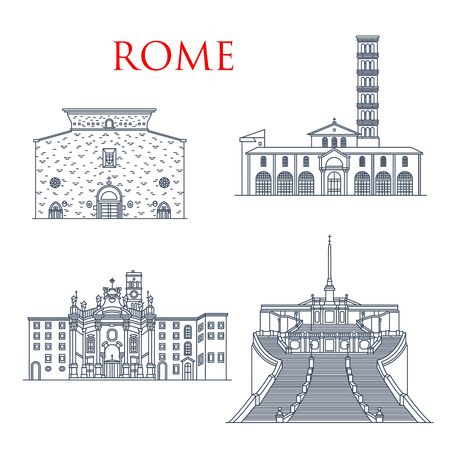 Rome travel landmarks, italian architecture and famous sightseeing symbols. Vector church of Santa Maria in Cosmedin and Aracoeli, basilica St Croce in Gerusalemme and Spanish Steps