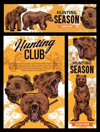 Hunter club, wild grizzly bear hunting season sketch posters and banners. Vector wild forest animals hunt adventure, hunter equipment and ammo shotgun rifle for trophy 向量圖像
