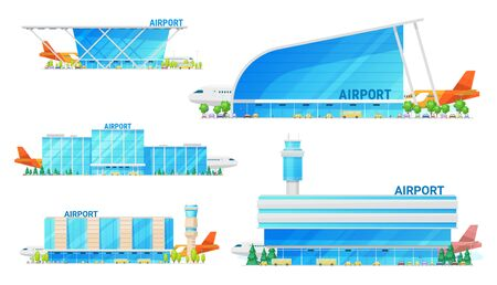 Airport building and airplane on runway, passenger terminal infrastructure icons. Vector isolated icons of airport facade with public transport bus, metro and taxi cars