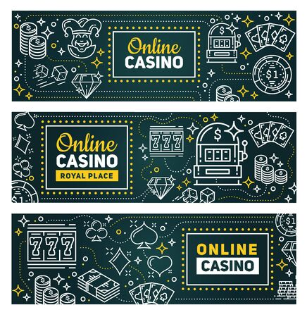 Casino online poker gambling game banners. Vector royal casino signage, slot machines, poker gamble cards and wheel of fortune with dice and chips, lucky seven and money win cash coins Illustration