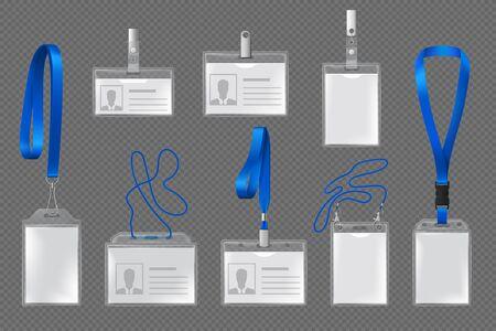 Modèles vectoriels de carte d'identité, badge ou porte-nom avec supports verticaux et horizontaux en plastique transparent, cordons bleus, clips métalliques, sangles et boucle. Maquettes de cartes d'identité pour événements professionnels