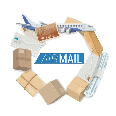 Air mail parcels and letters post delivery service, vector. Shipping and courier delivery logistics, airplane cargo fright with correspondence newspapers, letter envelopes and goods mail boxes Stock Illustratie
