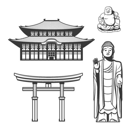 Japanese tradition, religion and culture symbols. Vector Torii gate and Shinto shrine or traditional Japanese house, Buddhism and Shintoi Buddha, Budai, Hotei or Pu-Tai monk statue icoins Stockfoto - 130695151