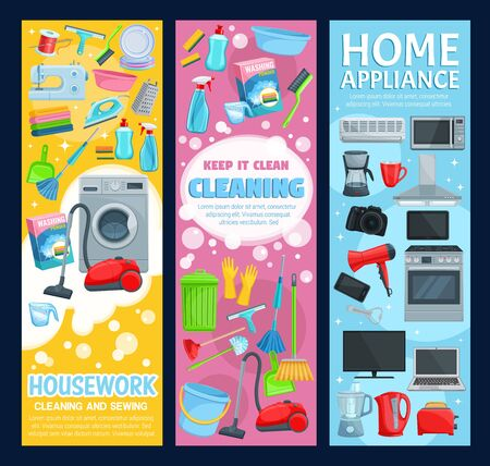House cleaning service, professional home clean, laundry and sewing housework. Vector housewife cleaning items, washing machine and vacuum cleaner, kitchen home appliances and household electronics