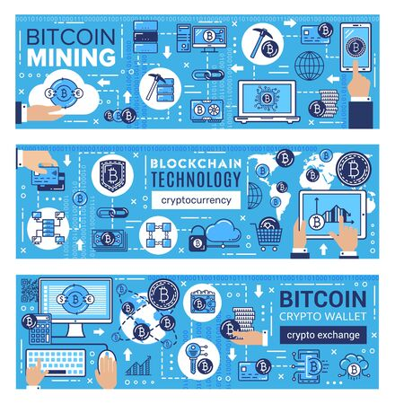 Bitcoin mining, cryptocurrency, blockchain network and digital money exchange technology. Vector digital currency ico, computer crypto coin mining servers and coin wallet safe transaction