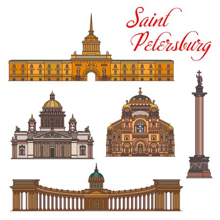 Saint Petersburg architecture, vector landmark buildings, famous sightseeing. Saint Isaac and Kazan Cathedral, Naval cathedral of Saint Nicholas in Kronstadt, Admiralty and Alexander Column 일러스트
