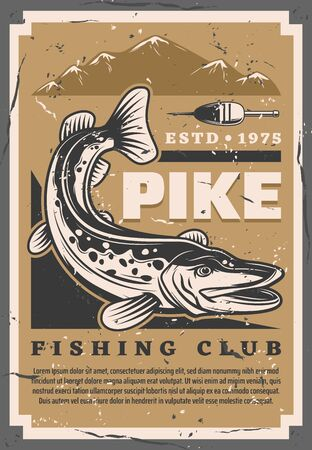 Fishing club, pike big fish catch retro poster. Vector fisher equipment tackles, rod floats and lures shop, sea and lake fishing sport tournament