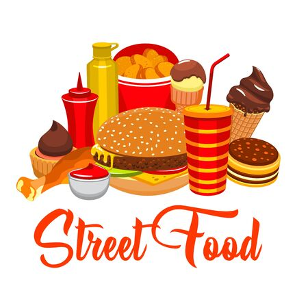 Fast food snacks and drinks, restaurant and street food. Vector cheeseburger or hamburger, french fries with chocolate ice cream, chicken leg grill and soda or coffee drink, ketchup and mustard