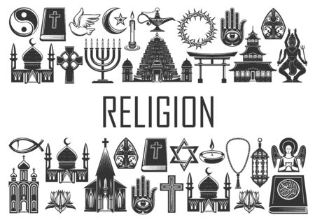 Religion, religious icons and symbols of Christianity, Islam and Buddhism. World religion signs of Catholic or Orthodox church, Shinto and Judaism, Muslim mosque, Jewish synagogue and Sikhism temple