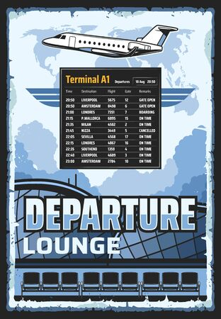 Airport vintage poster of passengers terminal departure lounge and flights schedule table. Vector travel and tourism, international airport jet in sky, tourist company and airlines  イラスト・ベクター素材