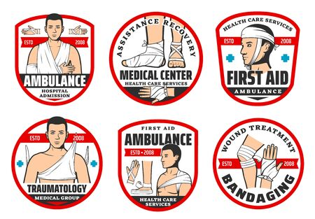 Traumatology first aid medical center and orthopedics ambulance icons. Vector surgery clinic or injury and wound medical assistance service for trauma emergency surgery and bandaging Ilustração