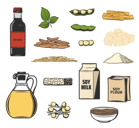Soy food products and healthy nutrition icons. Vector soybeans sprouts, oil and butter or flour and miso seasoning, tofu skin and curd cheese, soy meat raw organic food ingredients