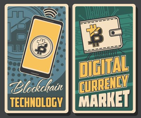 Cryptocurrency payment, bitcoin transaction and blockchain technology poster. Vector digital currency market, wireless mobile phone payment, crypto currency wallet and online banking trade