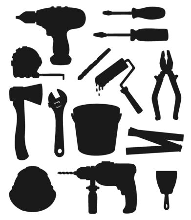 Work tools, home repair and house renovation instruments vector silhouettes. Construction drill, ax and putty knife, carpentry hammer, ruler, screwdrivers, spanner wrench, paint and pliers