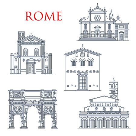 Rome travel landmarks, Italy architecture famous sightseeing symbols. Vector Basilica di Santa Prassede and Maria del Popolo and Constantine arch, Santa Pudenziana and Maria church in Trastevere  イラスト・ベクター素材