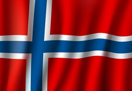 Norway flag, 3D realistic wavy banner. Vector Norwegian national flag of Scandinavia, European Union and Schengen country, Independence and Constitution Day symbol