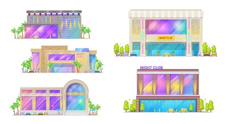 Night club modern building, city dance hall icons. Vector entertainment show architecture, nightclub building with glass windows, neon signage and spotlight, limousine cars at street