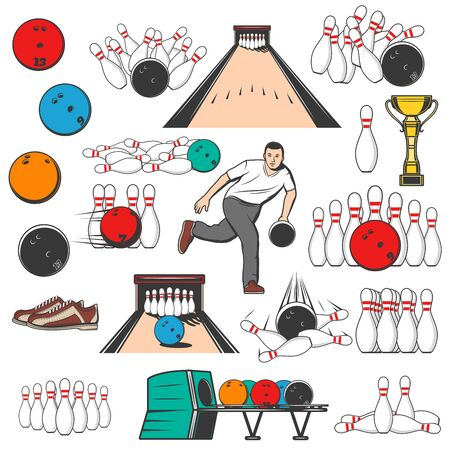 Bowling game equipment pins and ball icons. Vector bowling tournament, professional player, shoes, game alley lane and skittles in strike, entertainment sport and hobby