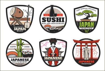 Japanese icons of tradition, culture and food. Vector signs of sushi rolls bar or restaurant, bonsai tree and traditional Japanese music instruments, Japan hieroglyphs on Torii gates and geisha Иллюстрация