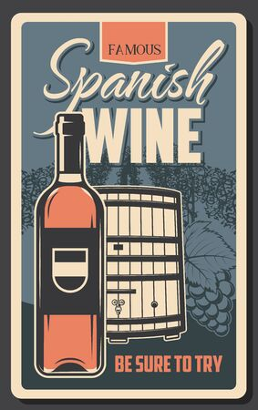 Spanish wine, winemaking house and winery grand reserve retro vector poster. Wine production factory and shop, wooden barrels and red wine bottle, vineyard grape