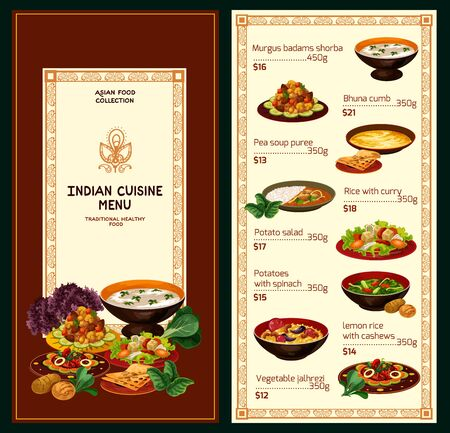 Indian cuisine menu, traditional food and dishes. Vector menu of murgus badams shorba, pea soup puree and rice with curry, potato salad with spinach and lemon rice with cashew
