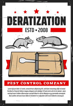 Rats pest control, deratization and rodent extermination service. Vector domestic and office rats extermination, mousetraps and sanitary hygiene cleaning service