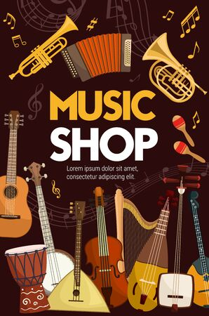 Music shop poster of folk, classic jazz and orchestra musical instruments. Vector music instruments, sound band equipment, guitar and saxophone, maracas and cello violin, tambourine, drum, banjo Stock Illustratie