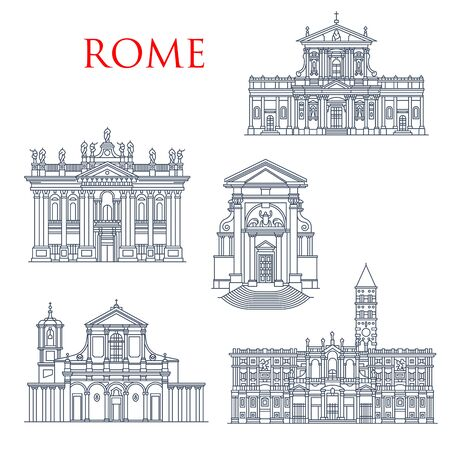 Rome landmark icons, travel famous sightseeing. Vector Italian Santa Maria della Vittoria and Andrea al Quirinale church, Basilica di San Giovanni in Laterano, Maria Maggiore and San Clemente  イラスト・ベクター素材