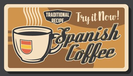Vector traditional Spanish coffee cup with hot steam of strong espresso, americano or cappuccino, premium quality. Coffee shop, cafe or coffeehouse vintage poster