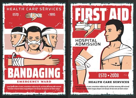 Traumatology first aid, medical assistance center and hospital admission, vector. Orthopedics ambulance, trauma and ligament sprain surgery and bandaging emergency ward Ilustrace