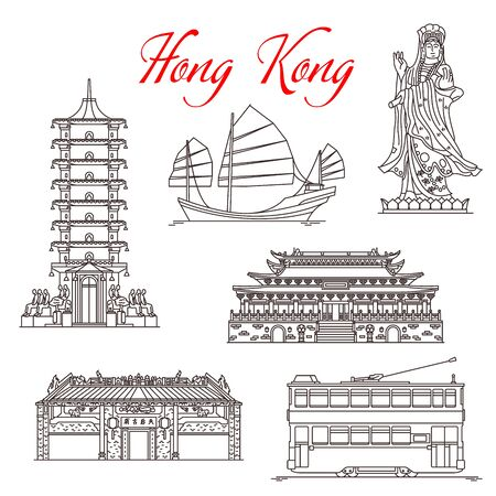 Hong Kong travel landmarks, architecture and famous sightseeing symbols. Vector Mazu sea goddess or Tin Hau Temple, Po Lin and Buddha Monastery pagoda, Junk ship and double-decker tram