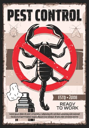 Pest control service vintage poster, professional home disinsection. Vector dangerous insects extermination, moth, ticks and parasite bugs disinsection, domestic pest control fumigation, stop sign