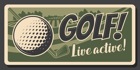 Golf club, professional game and sport hobby training vintage retro poster. Vector premium golf club championship and victory cup tournament, golf ball and stick on green putter tee Stock fotó - 130695176