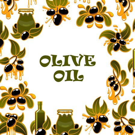 Organic olive oil in bottle and jar, premium quality food products and cooking. Vector green olives harvest, extra virgin oil drops splash, healthy natural food ingredients