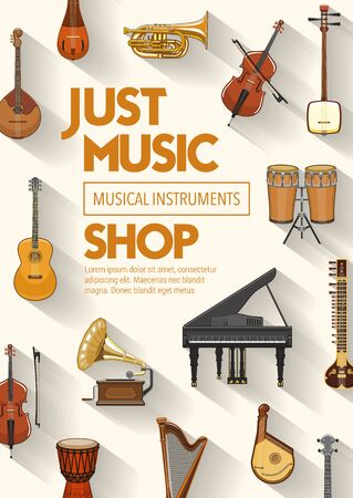 Music shop, musical instruments and sound band equipment. Vector folk, classic jazz and orchestra music instruments, piano and jembe drums, guitar, violin cello or harp and gramophone