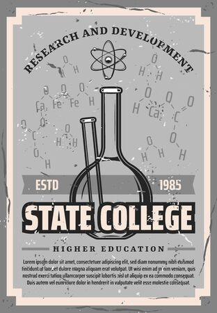 State college, higher education in chemistry and microbiology retro poster. Vector high school study and academic degree education, research and development, chemical flask and formula