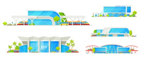 Railway station building, train platform and passenger terminal infrastructure. Vector isolated icons of modern railway, bus station building with public transport bus and cars