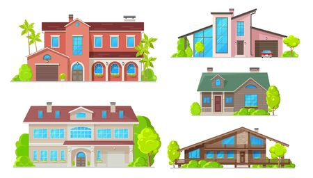 Houses and residential home buildings, reals estate icons. Vector exterior facades architecture of family homes, cottage houses or mansion apartments and villa, urban property with terraces Stockfoto - 130695378