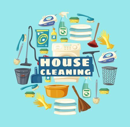 House cleaning service, professional clean home and laundry. Vector housewife cleaning tools and items, floor mop and water bucket, washing machine and vacuum cleaner, duster broom and sponge Illustration