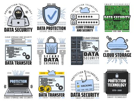 Internet data information security and cloud storage digital technology icons. Vector internet computer network protection, bitcoin cryptocurrency data transfer and online private access safety