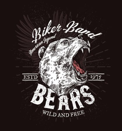 Biker club t-shirt print patch template, roaring bear sketch. Vector American biker club badge, wild and free quote, grizzly bear with fangs, rocker bikers or motorbike races poster Illustration