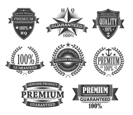 Premium quality icons, product badges and guarantee labels. Vector monochrome engraving signs, quality certificates and 100 percent genuine product shields with premium stars, award ribbons and laurel Ilustração