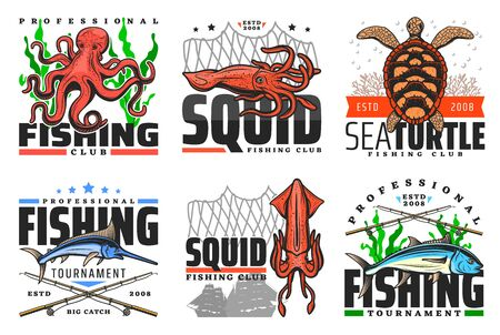 Fish and underwater animal icons, fishing club badges. Vector fisher tournament, sea and ocean big catch trophy octopus, turtle or squid, marlin and tuna with fishing rod, net and lure tackles